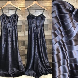 BCBG Maxazria Dark Blue Gray Floor Length Gown